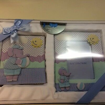 soft padded baby photo picture frame &  album blue elephant baby shower