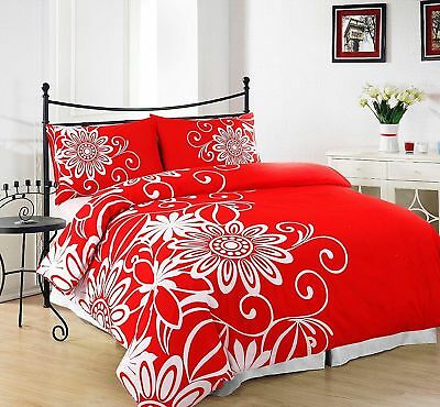 3 Piece Duvet / Quilt Cover with Pillow Case Helen Red Bedding Set  Double King