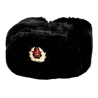 Russian military winter fur hat Ushanka with Soviet badge, size L