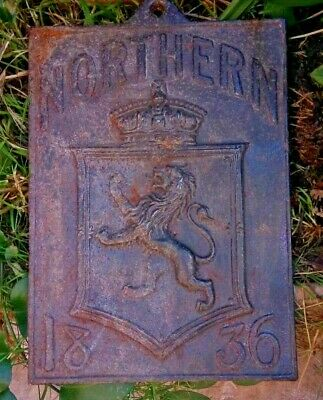 Decorative Salop Iron cast Northern 1836 fire insurance plaque / name plate