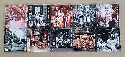 GB QEII Comm. Stamps. 2003 (SG 2368-2377) 50th Anniv. of Coronation. Set x FDC
