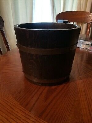 Lister Oak And Brass Bound Coopered Planter Bucket
