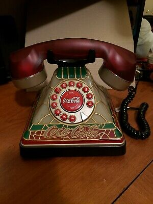 Coca-Cola Stained Glass Pushphone Phone Vintage Antique Rare Ornament with light