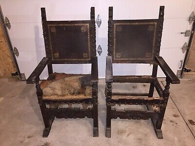 Pair of Spanish Ornate Carved Antique Leather Throne Chairs Arm Chairs