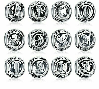 Crystal Alphabet Pandora Bead Bracelet Initial Letters Bead Fashion Jewelry New