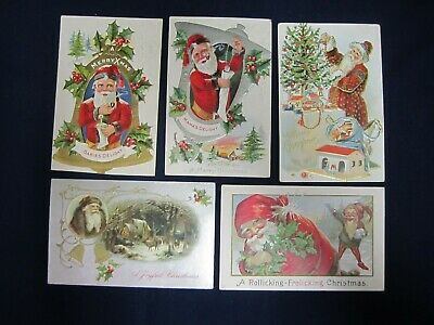 Lot of 5 Antique Christmas Postcards Santa Claus Embossed 1900's B5