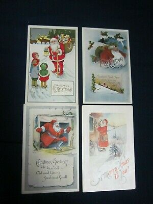 Lot of 4 Antique Christmas Postcards Santa Claus Embossed 1900's B3