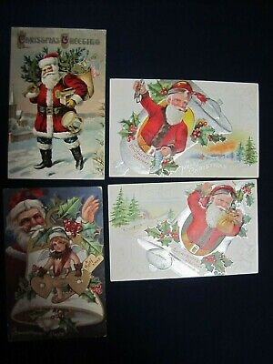 Lot of 4 Antique Christmas Postcards Santa Claus Embossed 1900's B2