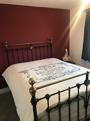 Cast Iron And Brass Handmade Double Bed Frame