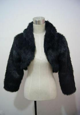 New Black Faux Fur Shawl Wrap Shrug Coat Bridal Wedding Jacket Bolero