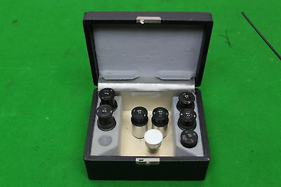 7 x Wild Heerbrugg Swiss Microscope Eyepieces in Wild Case Laboratory Lab