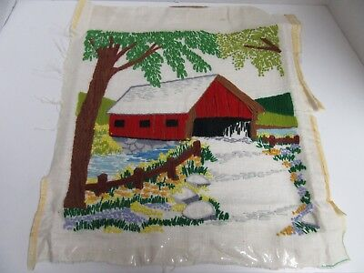Finished Crewel Embroidery Country Barn Creek Completed 14 Inch