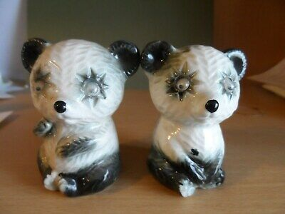 vintage panda bears cruet salt and pepper black and white novelty pots homeware