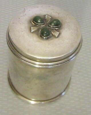 vtg hand made arts & craft STERLING SILVER GREEN AGATE BOX cigarette vanity 246g