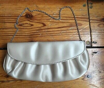 Accessorize Cream Ivory Satin Clutch Bag with Chain