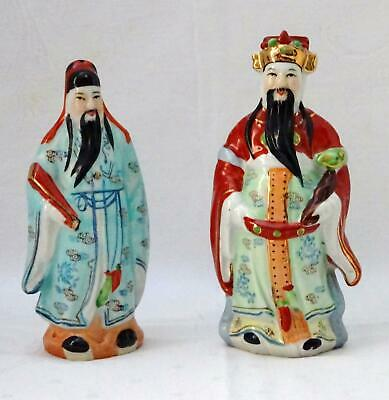 2 Vintage Chinese Porcelain Standing Wise Men Statutes Or Figurines NO. 20 & 90