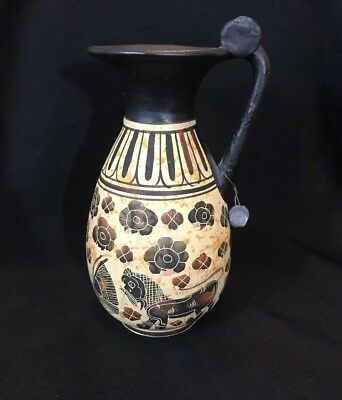 Greek Lions and Birds Pottery Vase Pitcher Copy Corinth Period 560 BC Hand Made