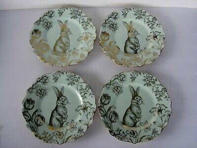 222 Fifth Bunny Hill Gold Light Green Easter Desset Salad Plates 4 New
