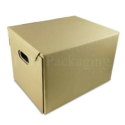 """A4 Size OFFICE ARCHIVE BOXES(395x310x255mm) 15x12x9""""WITH HANDLES & LIDS Any Qty"""
