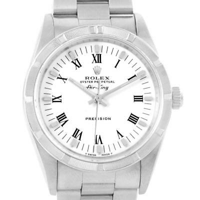 Rolex Air King 34mm White Dial Oyster Bracelet Steel Mens Watch 14010