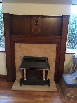 1930s Wooden Fire Surround Fireplace Mantlepiece with marble insert and gas fire