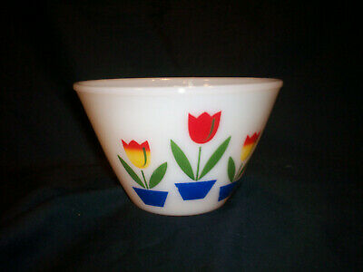 """VINTAGE 1950's Fire-King Tulip 9.5"""" Large Mixing Bowl"""