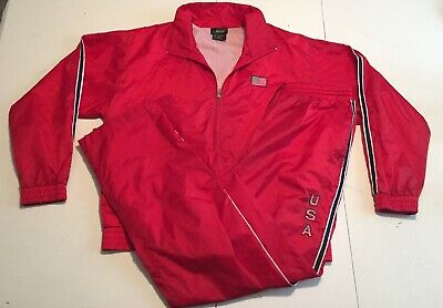 Vintage Lavon USA Womens Large 2 Piece Wind Breaker Sweat Suit Atheltic Red