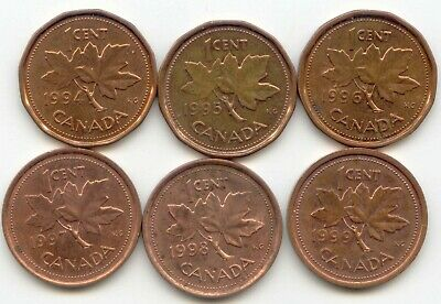 Canada 1994 1995 1996 1997 1998 + 1999 One Cent Canadian Pennies Penny 1c SET