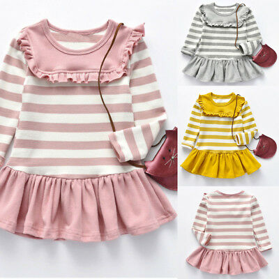 Toddler Girl Kid Spring Clothes Horse Stripe Print Princess Party  Dress Soft LZ