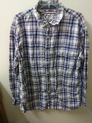 5a280df9 Tommy Hilfiger Mens Size XXL Long Sleeve Button Down Shirt Red White Blue  Plaid
