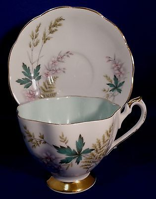 Cup & Saucer Floral Gold Edge Louise by Queen Anne Bone China England-