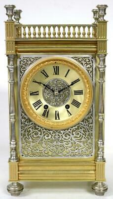 Antique French Mantel Clock Fret Work Silver Ormolu 8 Day Cube Mantel Clock 1890