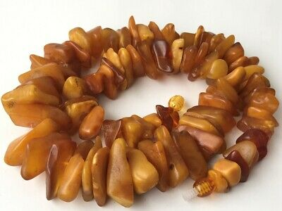 Natural Antique Baltic Vintage Amber OLD BUTTERSCOTCH  BEADS Necklace 66 gr