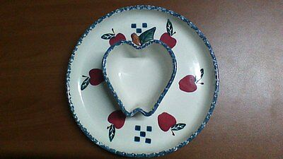 """CHAPARRAL POTTERY USA STONEWARE CHIP & DIP, 11 inches wide feat. """"Apples"""""""