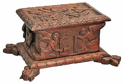 Antique Hand High Relief Carved Black Forest Box with Putti Angels Unique