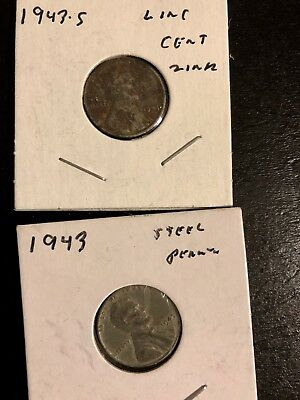 1943 P, & S Steel Lincoln Wheat Cent Set. Circulated. 2 Coins