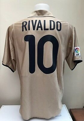 sale retailer b685a 21242 BARCELONA FOOTBALL SHIRT Jersey RIVALDO 10 Medium M Away 2001 2002 2003 Gold