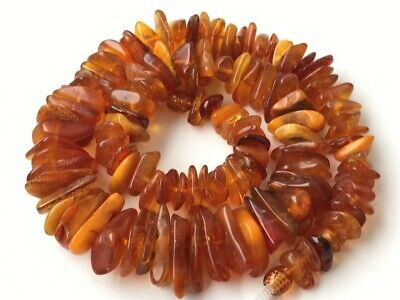Natural Antique Baltic Vintage Amber OLD BUTTERSCOTCH  BEADS Necklace 47 gr