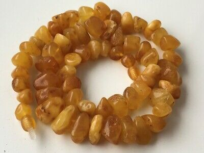 Natural Antique Baltic Vintage Amber OLD BUTTERSCOTCH  BEADS Necklace 41.49 gr