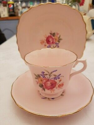 Vintage Royal Vale baby pink floral gold  bone china teacup saucer & side plate