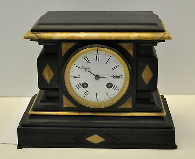 Antique 1875 H & F PARIS French Victorian Black Marble Mantel Chiming Clock