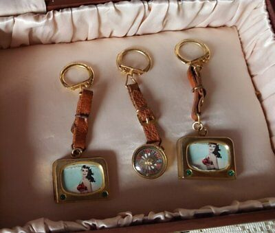 3 Vtg. Novelty Leather Keyrings-Pinups +Roulette-Italy!