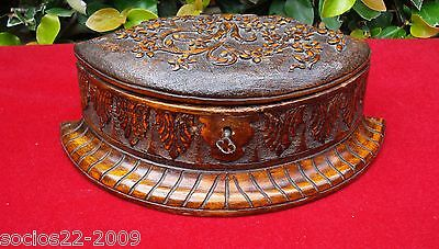 Antique Ornate Hand Carved Wood Jewelry Box