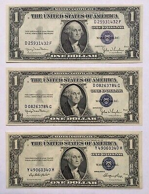 1935D Narrow & Wide & 1935E $1 Silver Certificates, 3 Circulated Banknotes