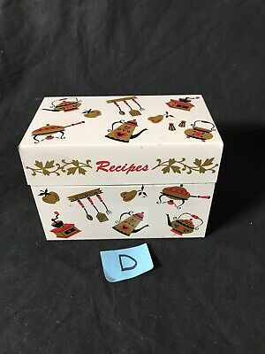 VINTAGE 1960s OHIO ART METAL RECIPE BOX Tin WITH OVER 90 RECIPES-Red And Gold