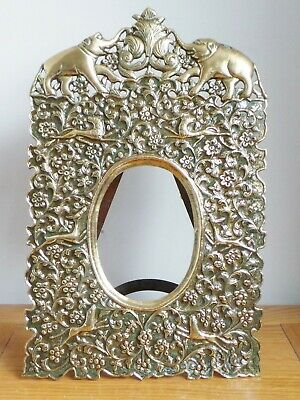 Antique 19Th Century Indian Kutch Repousse Brass Frame - Beautiful