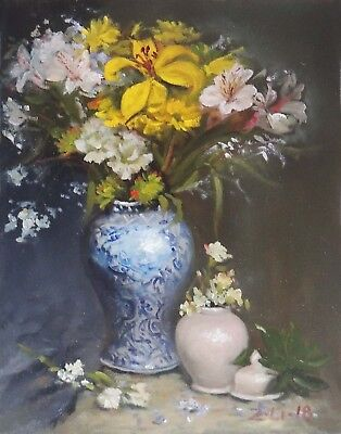 """Original Oil Painting Still Life Realism Floral in Blue White Vase 11x14"""" Signed"""