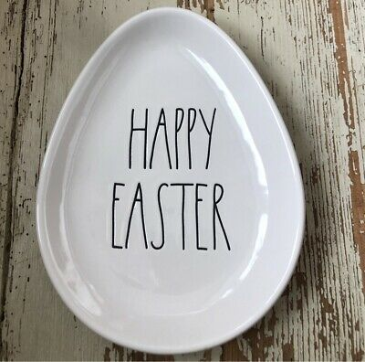 """Rae Dunn Artisan Egg-Shaped Plate """"HAPPY EASTER"""" New! HTF! *LOW Shipping!* 🐰🐣"""