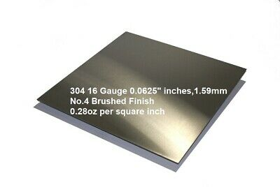 "304 Stainless Steel Sheet 16 Gauge 0.0625 inch 1.59 mm Price per Square 16"" inch"