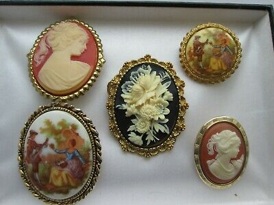 Vintage Jewellery Mixed Lot Of Gold Tone Victorian Style Cameo Brooches Pins